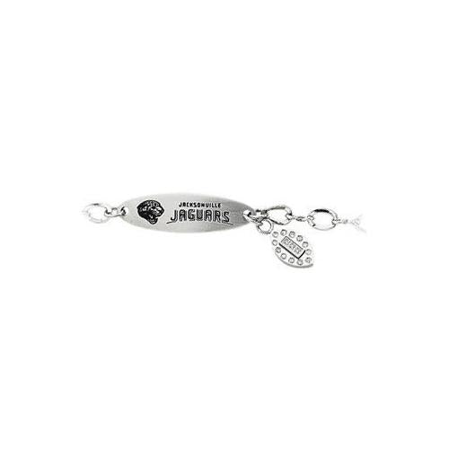 Stainless Steel Jacksonville Jaguars Team Name and Logo Dangle Bracelet - 7.5 Inch