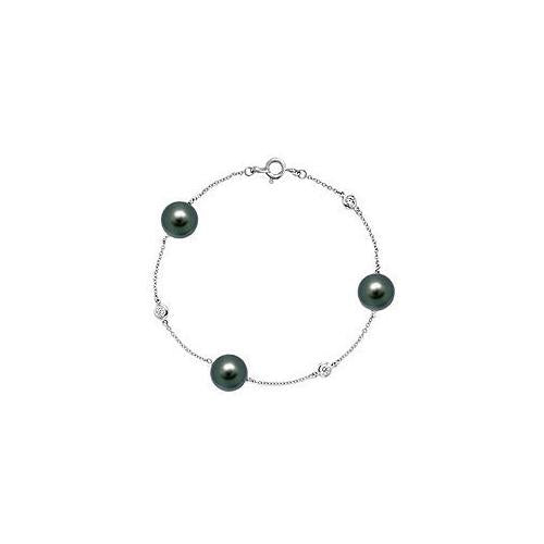 Diamond and Cultured Tahitian Pearl Bracelet : 14K White Gold - 0.15 CT Diamonds