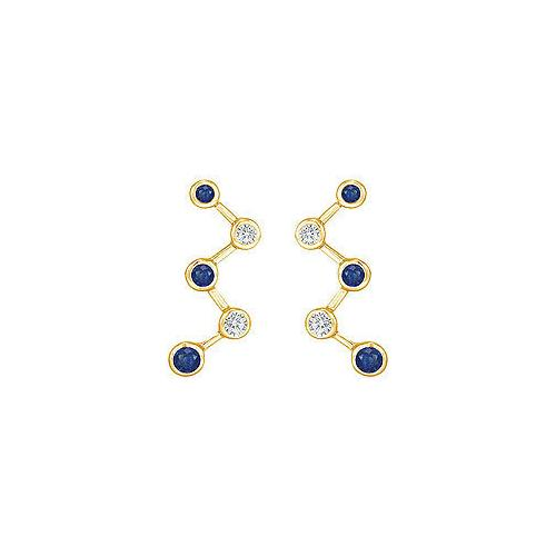 Blue Sapphire and Diamond Earrings : 14K Yellow Gold - 1.00 CT TGW
