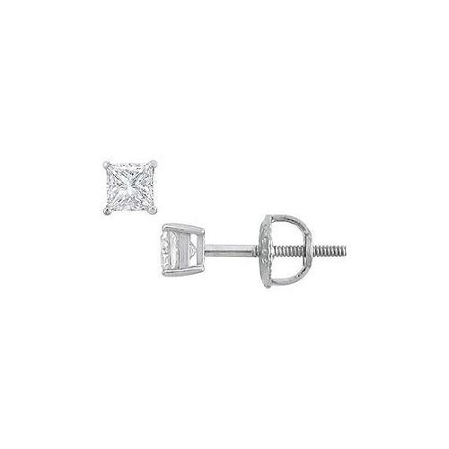 18K White Gold : Princess Cut Diamond Stud Earrings – 0.25 CT. TW.