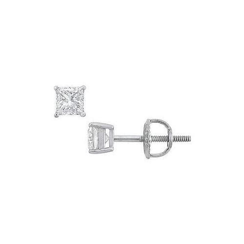 18K White Gold : Princess Cut Diamond Stud Earrings – 0.33 CT. TW.