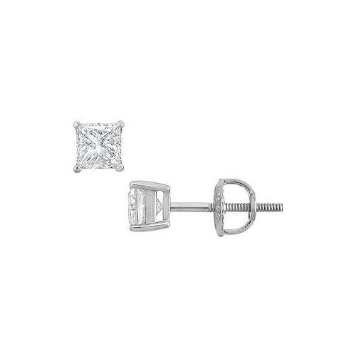 18K White Gold : Princess Cut Diamond Stud Earrings – 0.50 CT. TW.