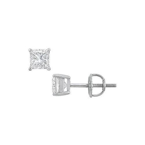 18K White Gold : Princess Cut Diamond Stud Earrings – 0.75 CT. TW.