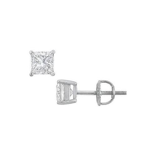 18K White Gold : Princess Cut Diamond Stud Earrings – 1.00 CT. TW.