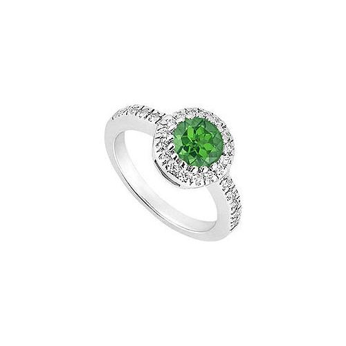 Sterling Silver Frosted Emerald and Cubic Zirconia Engagement Ring 0.75 CT TGW