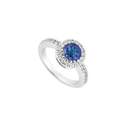 Sterling Silver Diffuse Sapphire and Cubic Zirconia Engagement Ring 0.75 CT TGW
