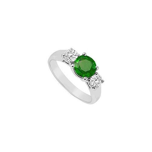Frosted Emerald and Cubic Zirconia Three Stone Ring .925 Sterling Silver 0.50 CT TGW