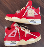 "Jordan 4 ""Off white"" Red (Women Size but can covert to men size)"
