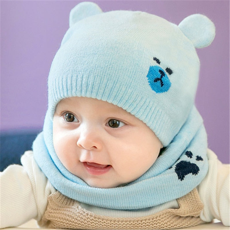 2pcs set Fashion Newborn Hats Knitted Warm Bear Baby Winter Bonnet + Scarf  Suits 3807ee0b08d