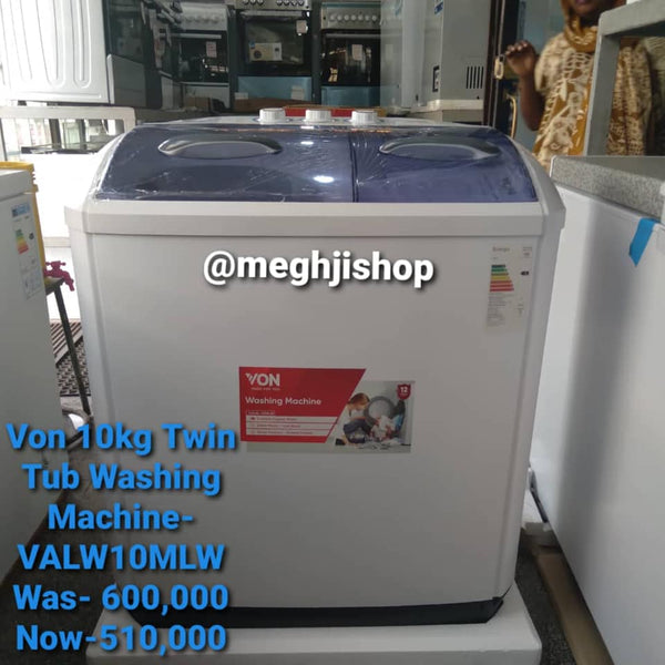 VON 10kg Twin Tub Washing Machine  - VALW 10 MLW