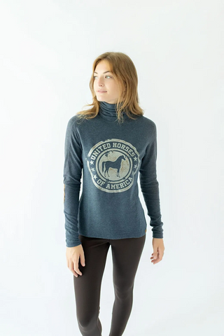 Chestnut Bay Rider Lounge Turtleneck Vintage Stamp