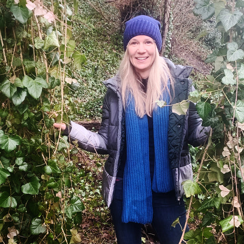 Naomi in our Knitted Hat in Cornflower Blue