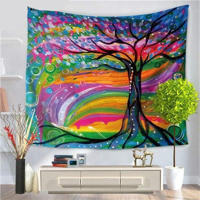 PSYCHEDELIC RAINBOW TREE TAPESTRY