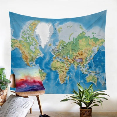 Entire World Map Wall Tapestry