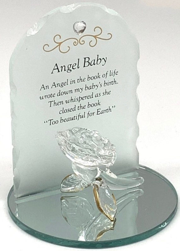 Posh Plaques & Signs – Memorial Rose Plaque Angel Baby 7cm x 9cm x 8cm (displayed in Acectate Box)