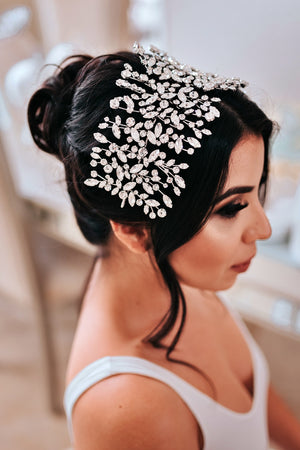 Bride wearing ADELE Swarovski Wedding Headpiece from Ellee Couture Boutique