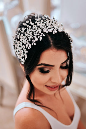 Hair style with ADELE Wedding Headpiece on top from Ellee Couture Boutique