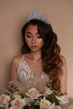 Bride wearing ALEXIA Leaf Bridal Tiara from Ellee Couture Boutique