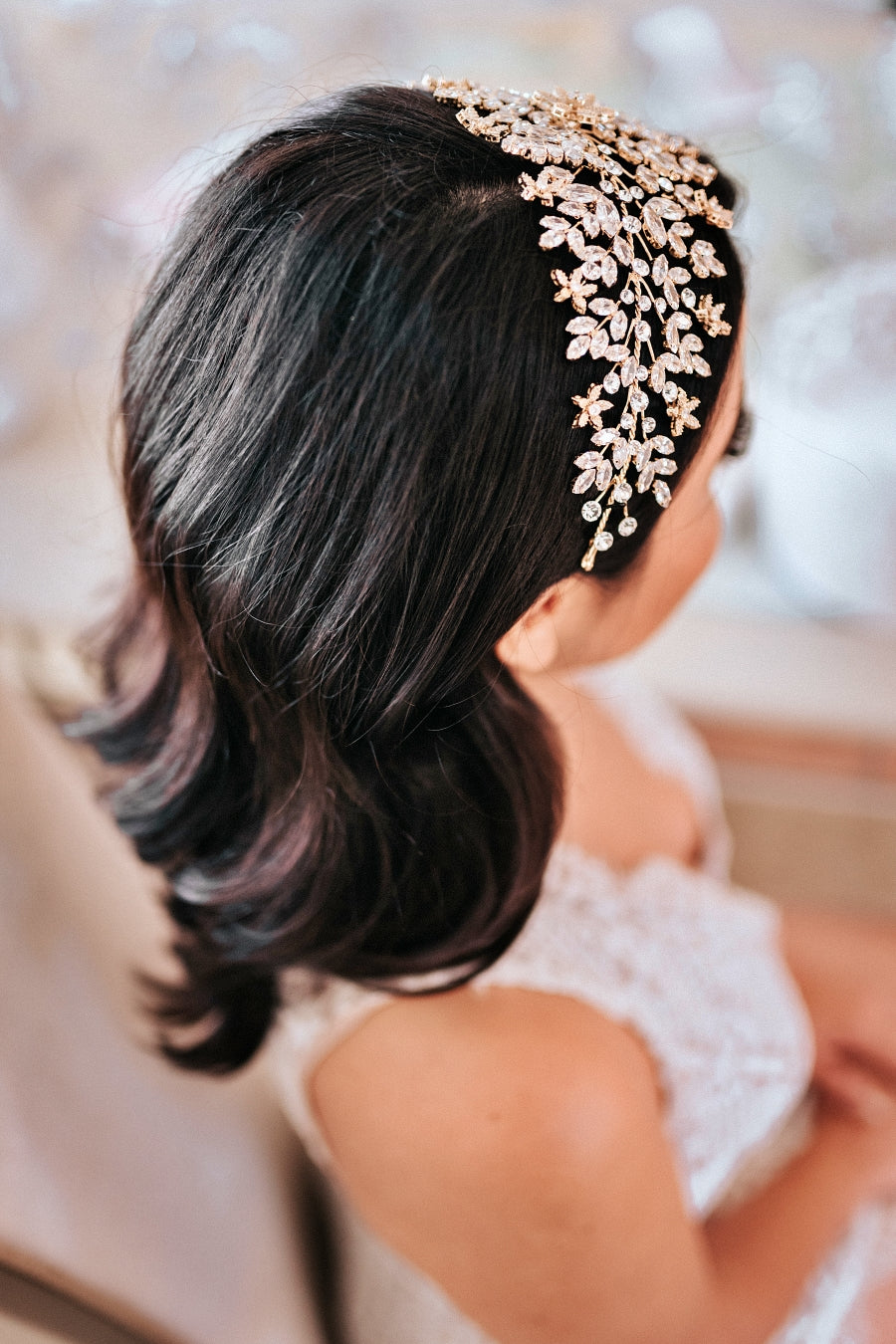 AMORETTE Bridal Headband, Swarovski Headpiece