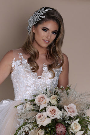 Stunning Bride Look in Bridal Headdress | Ellee Couture Boutique