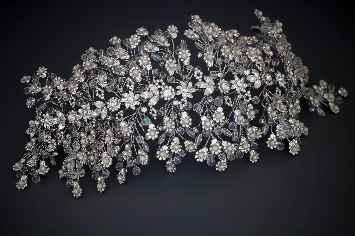 ALESSANDRA Swarovski Bridal Headpiece with Pearls & Crystals