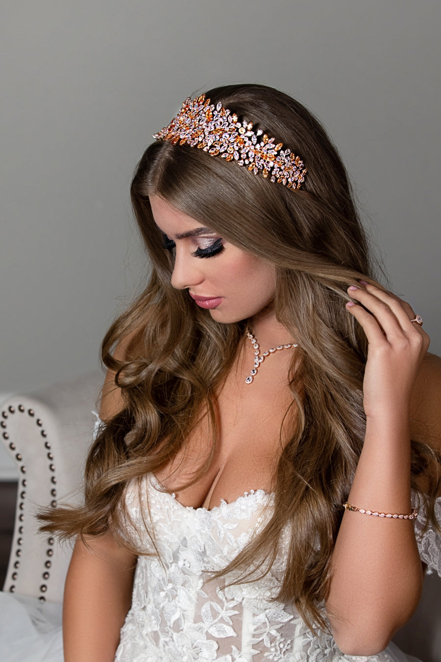 BELLE Rose Gold with Rose Gold Crystals Bridal Headband, Swarovski Bridal Headpiece