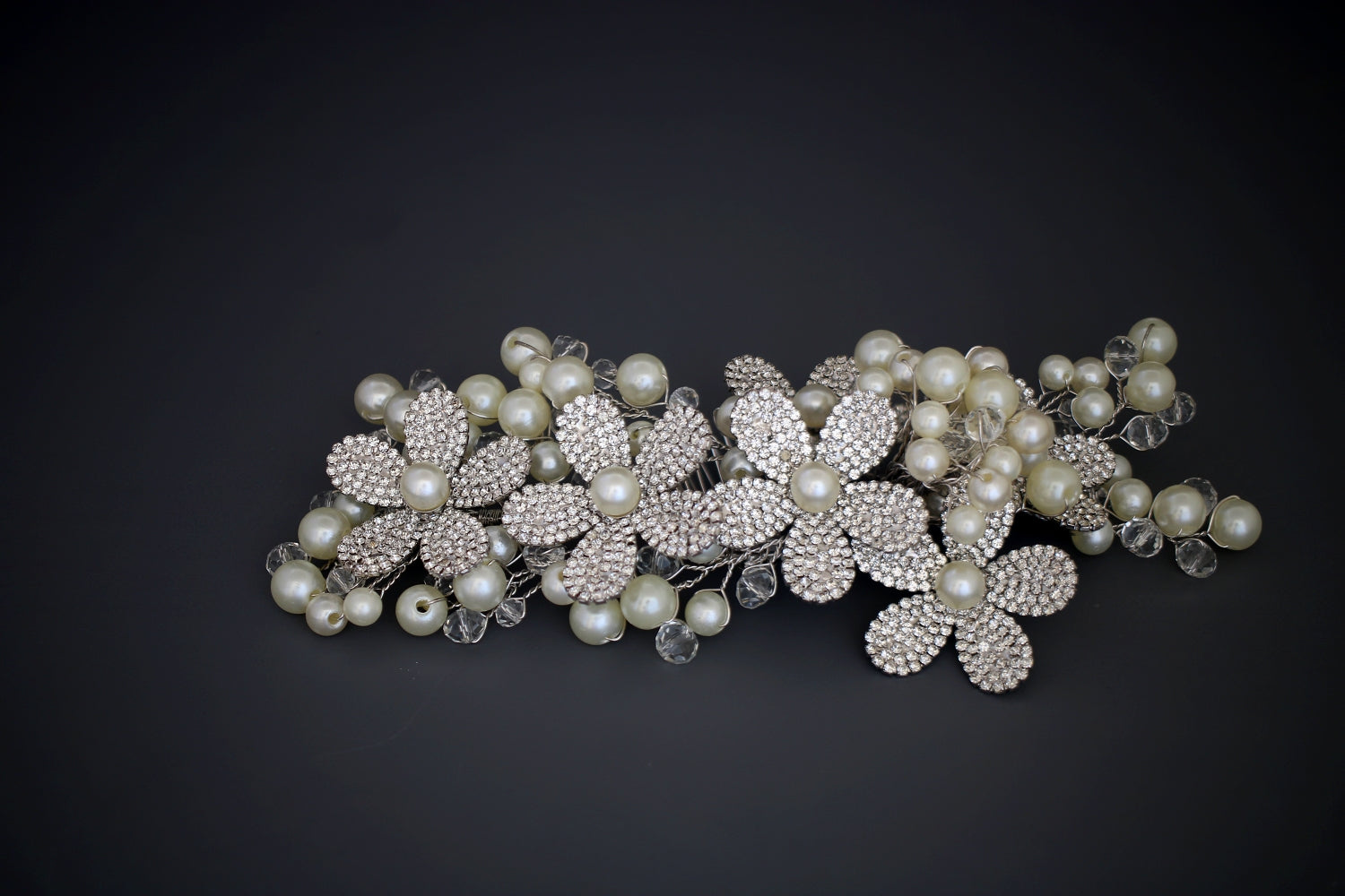IRIS Swarovski Bridal Headpiece, Wedding Hair Comb with Pearls