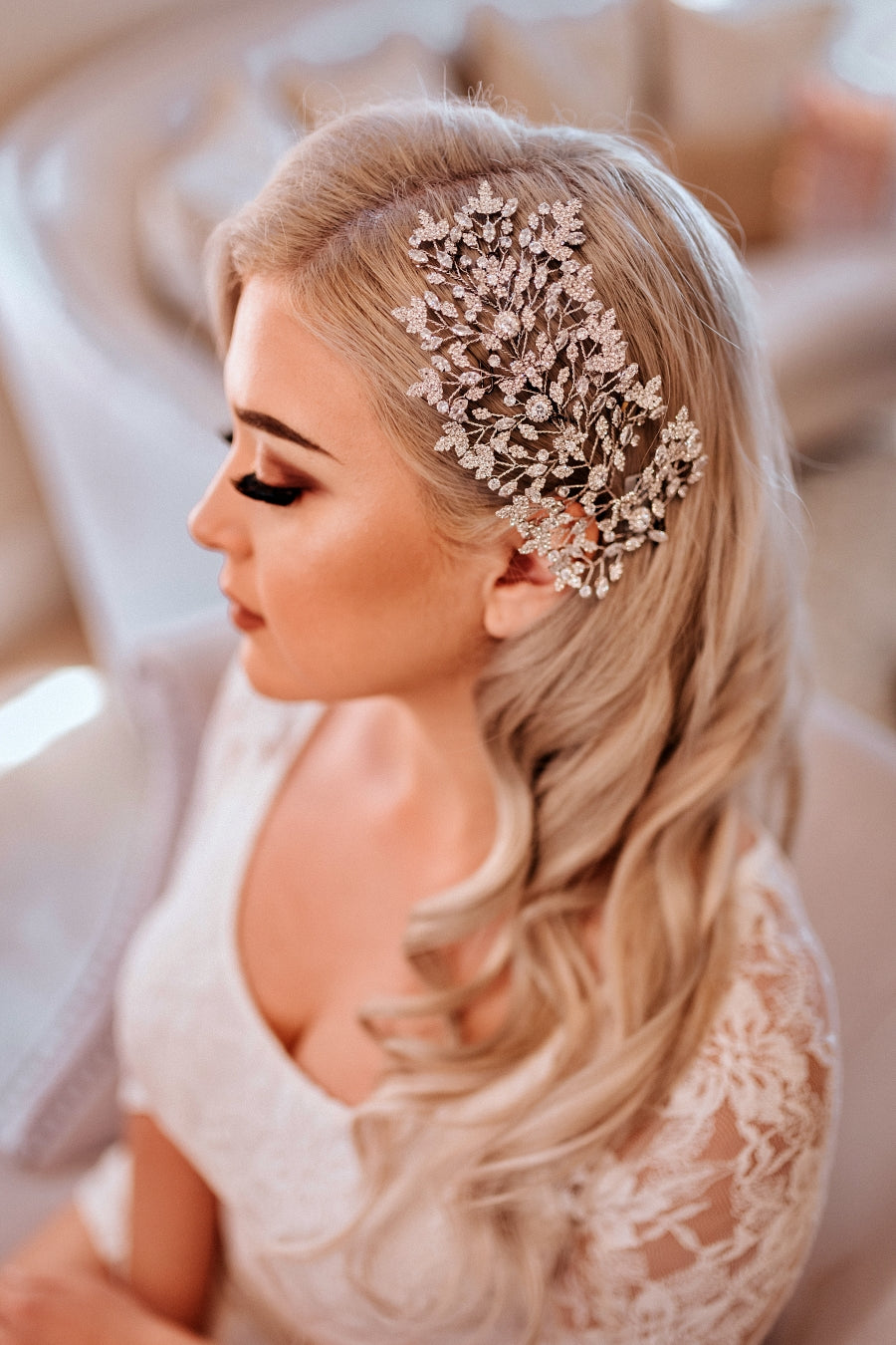 Maeve Swarovski Bridal Hair Wing, Wedding Hair Comb