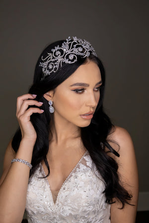 REINITA Swarovski Bridal Headband, Wedding Headpiece