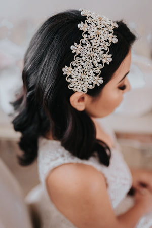 SAVANAH Swarovski Bridal Headband & Pearls Headpiece