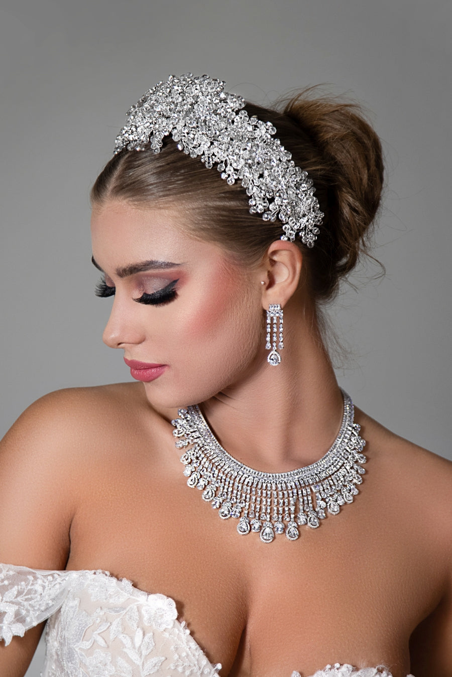 SORAYA Bridal Swarovski Headpiece with Luxurious Crystals