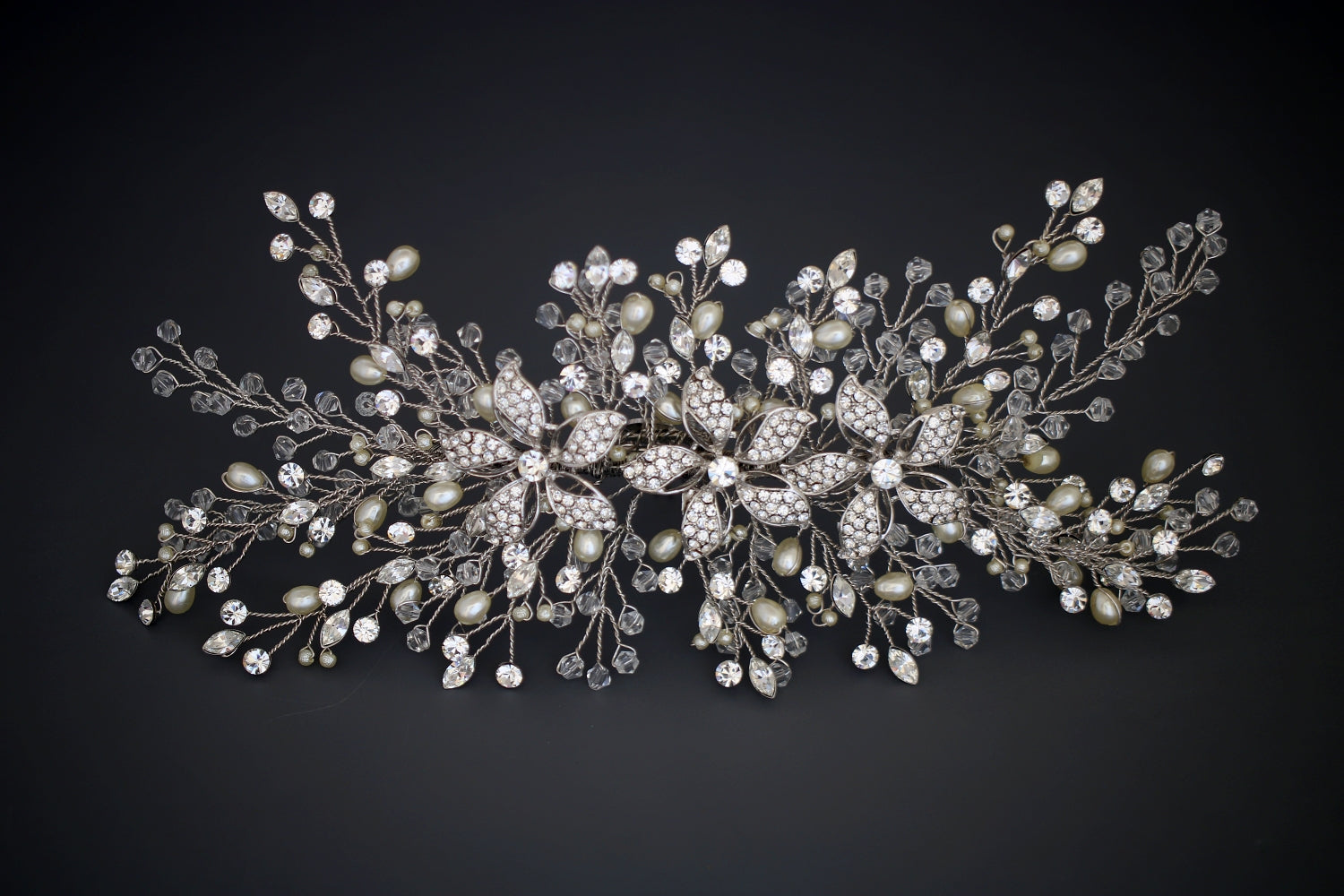 TIFFANY Bridal Headpiece Swarovski, Pearls & Crystals