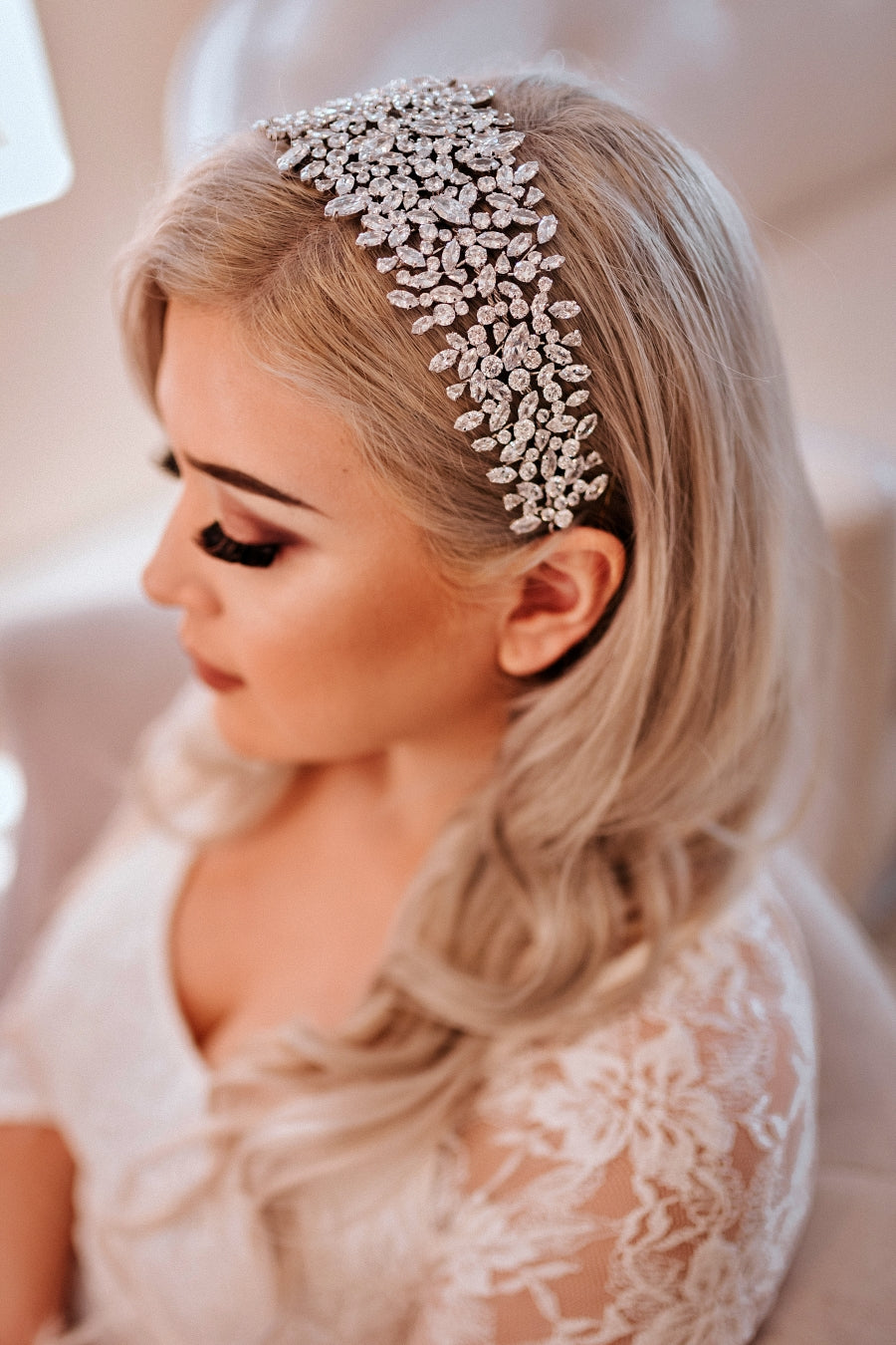 BELLE Wedding Headband, Swarovski Bridal Headpiece