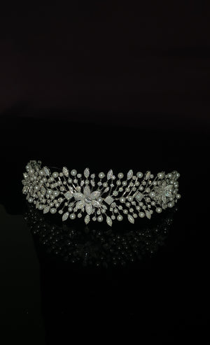 MARTHA Tiara Headband, Swarovski Headpiece with Pearls
