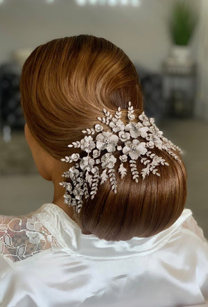Gorgeous Bridal Hair Piece on a bun | Ellee Couture Boutique