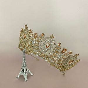 ANGELIKA Gold with Gold Crystals Bridal Crown with Swarovski Crystals