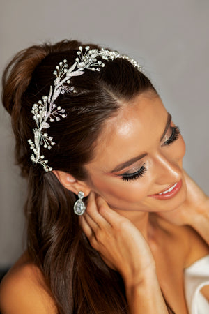 OKSANA Swarovski Wedding Headpiece with Gorgeous Pearls