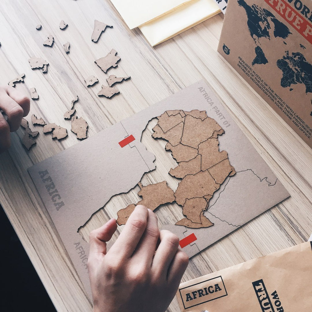 Wooden World Map True Puzzle Brown