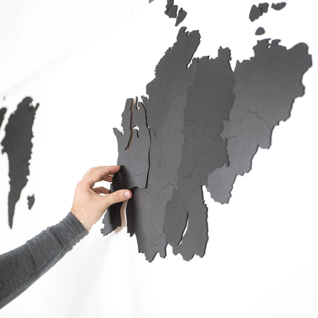 Wooden World Map Wall Decoration Black