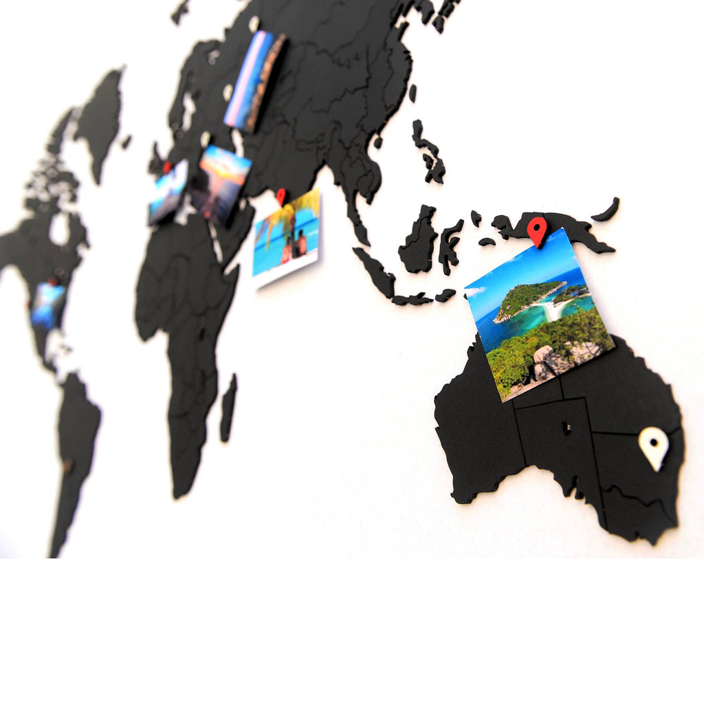 Wooden World Map True Puzzle Black