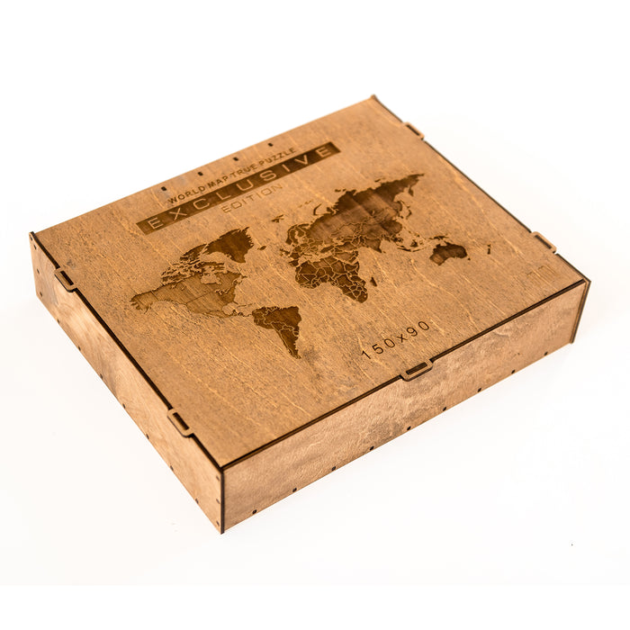Wooden World Map True Puzzle Walnut, Sapele, Oak