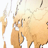 Wooden World Map Wall Decoration Brown