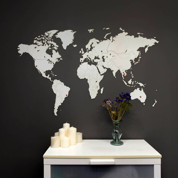 Wooden World Map Wall Decoration White