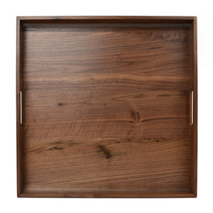 Kingcraft 19x19 inches Large Square Wooden Solid Black Walnut Serving Tray with Handle