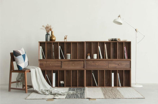 Combination Storage Bookcase Walnut