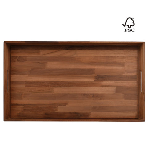 Kingcraft Square Ottoman Tray Teak Wood Serving Tray, Extra Large(24 x 13 inch)