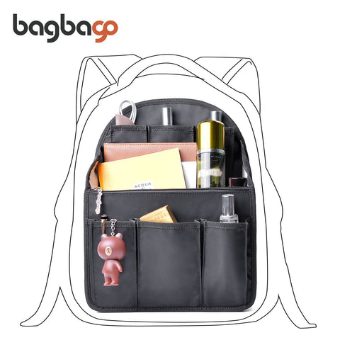 bag in bag Backpack Insert Organizer Diaper Shoulders Bag Handbag Organizer fit MCM (Large Black)