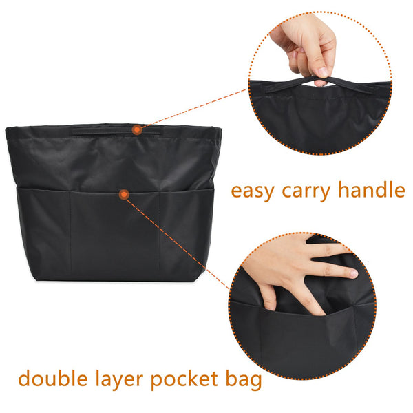 BES CHAN Multi-Pocket Bag in Bag Insert Organizer Tote Purse Handbag Liner Handle-M/L