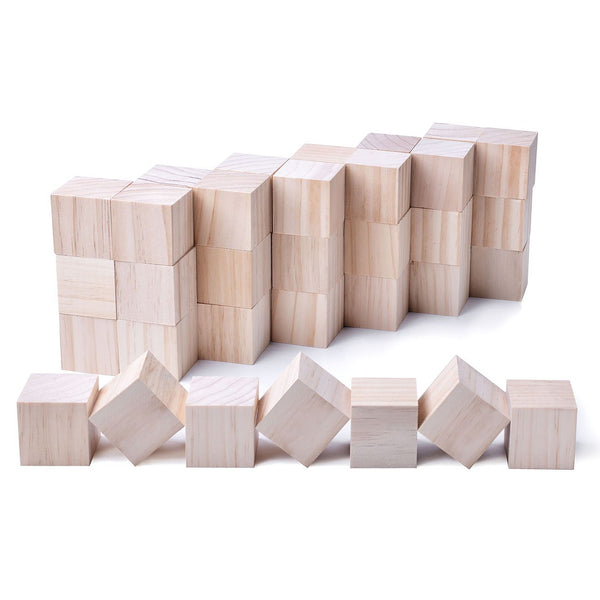 Kingcraft 24pcs Solid Wood Craft Blocks for Children Shower Game Puzzle Making,2inch