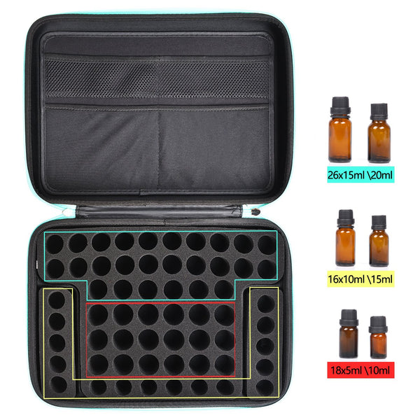 Essential Oil Carrying Case,Roller Bottle Organizer - Storage for 60-68 Bottles - Holds 5ml 10ml 15ml 20ml and 100ml with Free Writable Labels Opener
